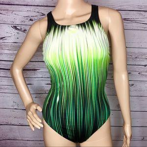 Speedo One Piece Lines Racing Bathing Suit